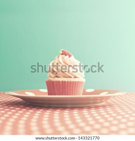 Vintage Retro Sweet Cupcake - stock photo