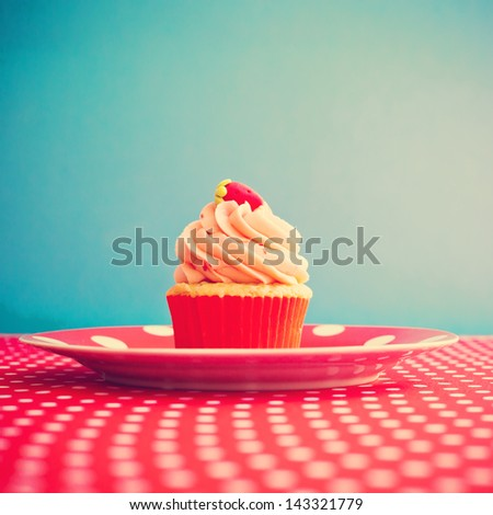 Vintage Retro Sweet Cupcake - stock photo