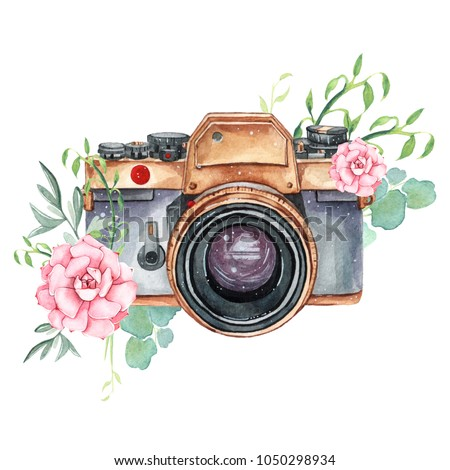 Vintage retro watercolor camera. Perfect for photography logo. Watercolor illustration.