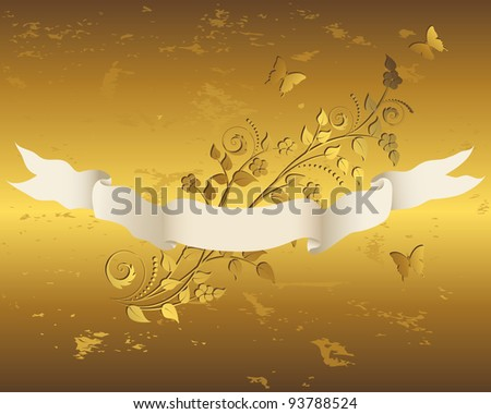 Vintage ribbon with grunge gold floral background. Raster version.