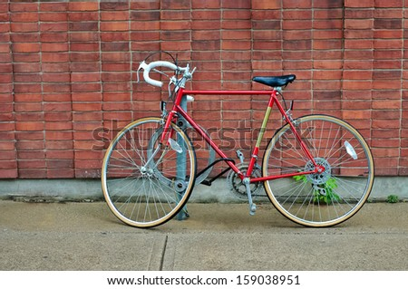 Vintage road bicycle parked on the street in Toronto