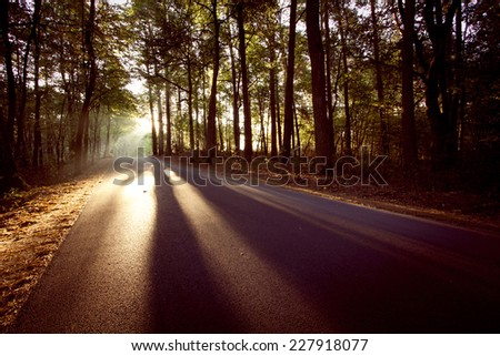 vintage road with sun rays and...