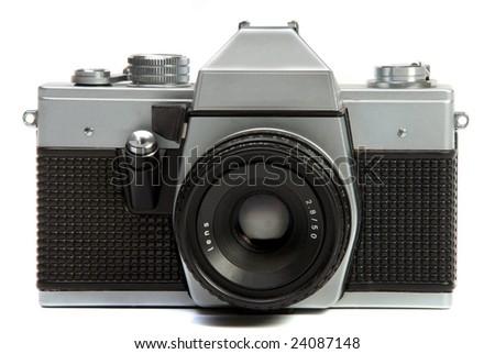 Vintage roll film camera chrome body - stock photo