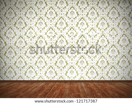 vintage room design, old fashioned floral wallpaper and weathered wooden floor, with dark edges