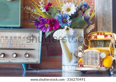 vintage room, retro interior car model on top table. public location  #336270491
