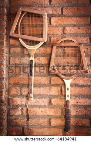 Vintage room style and old tennis racket