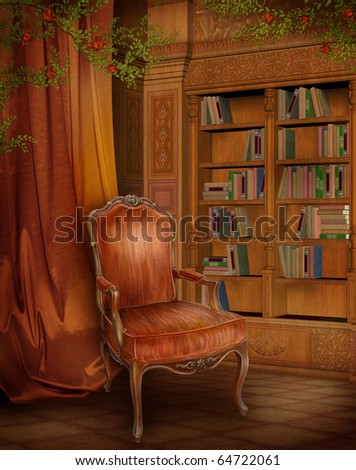 Vintage room with a book shelf and a chair