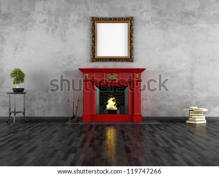 vintage room with red classic...
