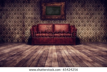 Vintage room with red sofa