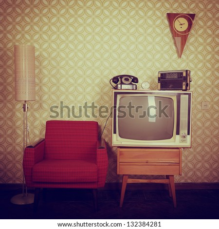 stock photo vintage room with wallpaper old fashioned armchair retro tv phone clocks radio player and 132384281 - Каталог — Фотообои «Ретро»