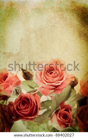 Vintage rose on watercolour background - stock photo