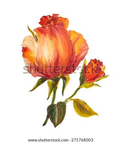 Vintage Roses isolated on white, oil painting on canvas