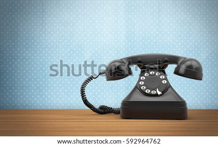 Vintage rotary phone on the wooden table. 3d rendering #592964762