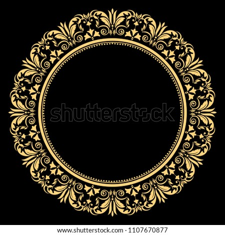 Vintage round frame in retro style, barroco. Flower decorative gold ornament, element for greeting cards, invitation, menu. Stylish  graphics. Foto stock ©