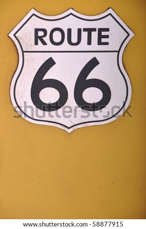 vintage route 66 sign on a yellow background