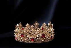 Vintage royal crown, jewellery. Concept of power and wealth