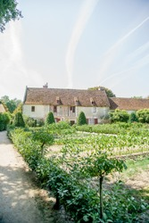 Vintage rural farm at Chateau de Chenonceau, Chenonceau castle in Loire Valley area in France.