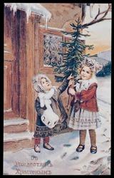 Vintage russian christmas postcard - circa 1900