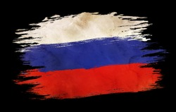 Vintage Russian flag. Flag of Russia in grunge style. Isolated flag of Russia.