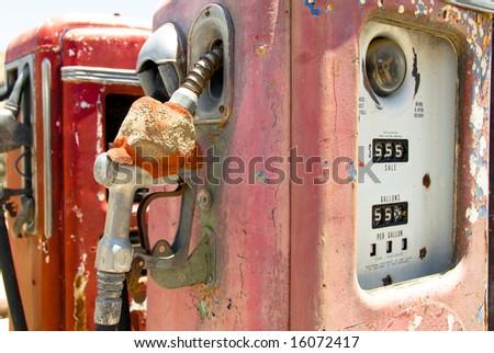 Vintage Rusted Gas Pump