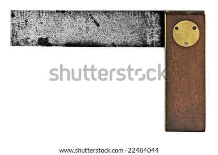 vintage rusty carpenters square isolated over white background