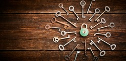 Vintage rusty padlock surrounded by group of old keys on a weathered wooden background. Internet security and data protection concept, blockchain and cybersecurity. Lockdown. Escape route and room
