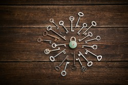 Vintage rusty padlock surrounded by old keys on a weathered wooden background