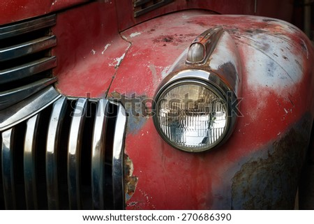 vintage rusty red truck car...
