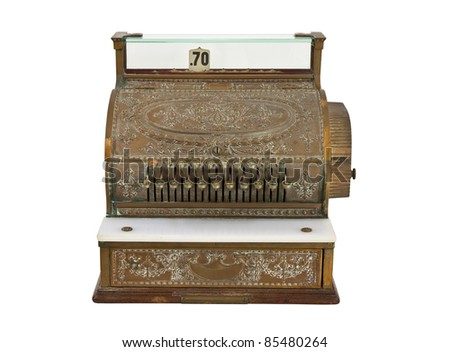 Vintage 1920's cash register isolated on white.
