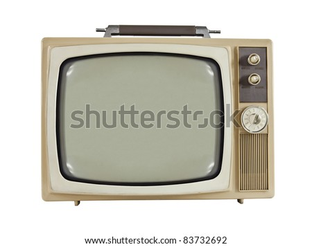 Vintage 1960's portable television isolated on white. - stock photo