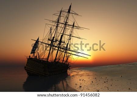 Vintage sailboat vmore at sunset.