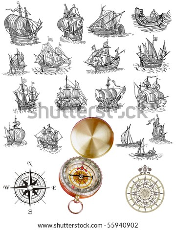 Vintage sailboats with compass engraving
