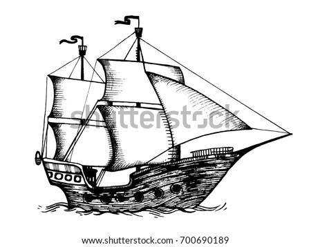 Vintage Sailing Ship Engraving Raster Illustration Scratch Board Style Imitation Hand Drawn Image