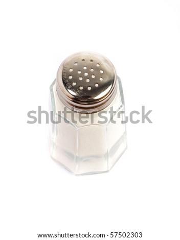 vintage salt shaker on white background