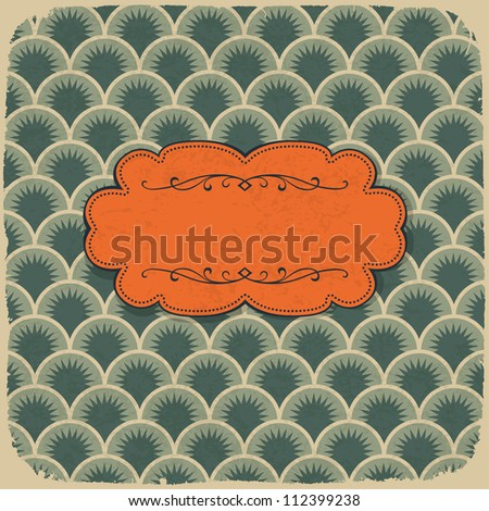 Vintage scale pattern with retro label. Raster version, vector file available in portfolio.