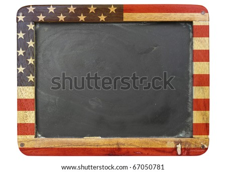 vintage school blackboard,stars and stripes, free copy space