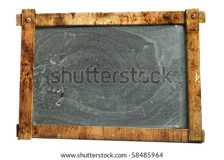 vintage school blackboard,  worn and grungy, free copy space, isolated on white background