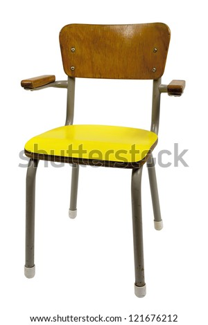 vintage school chair isolated on white