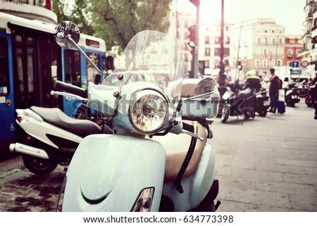 vintage scooter on a city...
