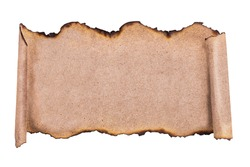 Vintage scroll with scorched edges, mock up for signboard or header. Top view, copy space.