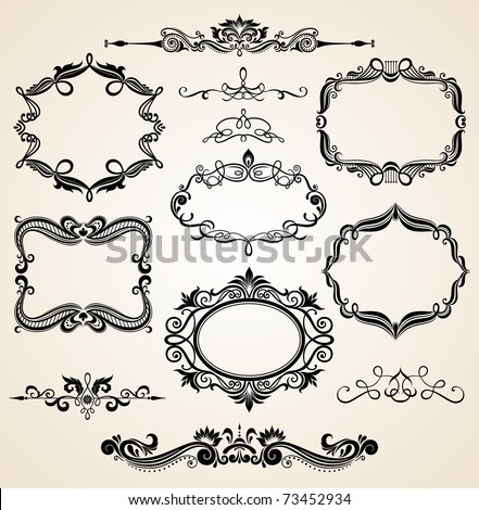 Vintage scrolls and frames. Design elements and page decoration. Set.