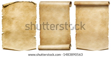 Vintage scrolls or parchment manuscripts set isolated on white