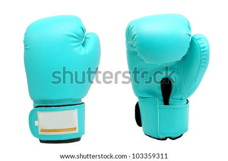Vintage  sea blue color Boxing gloves Front and Back side with white blackground