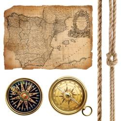 vintage sea collection (vintage map 1732 Spain and Portugal (author Ioh.Bapt.Homann) Nurenberg Germany)