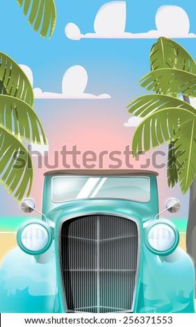 Vintage Sea foam green car, a classic retro sea foam green beautiful shiny automobile. This is a classic car.