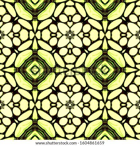 Vintage Seamless Background. Ornamental Geometry. Ornamental Geometry. Organic Colors. Green Lemon Old fashion Design. Hand Painted Kaleidoscope Effect. Floral Pattern. Floral Elements
