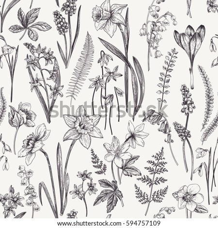 Vintage seamless floral pattern. Spring flowers and  herbs. Botanical  illustration. Narcissus, lily of the valley, hellebore, snowdrop, crocus. Engraving. Black and white.
