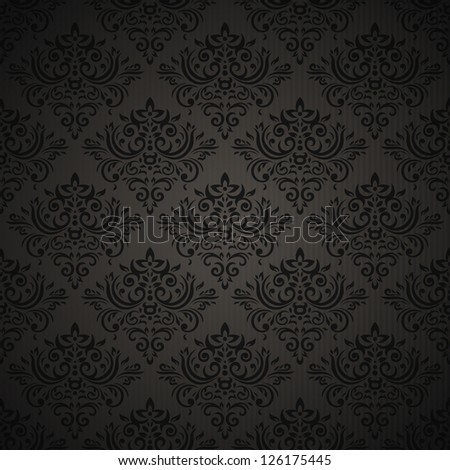 Vintage seamless pattern on dark background with floral elements