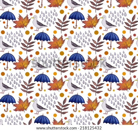 Vintage seamless pattern with rain drops, leaves and umbrellas. Watercolor paint. Autumn theme.