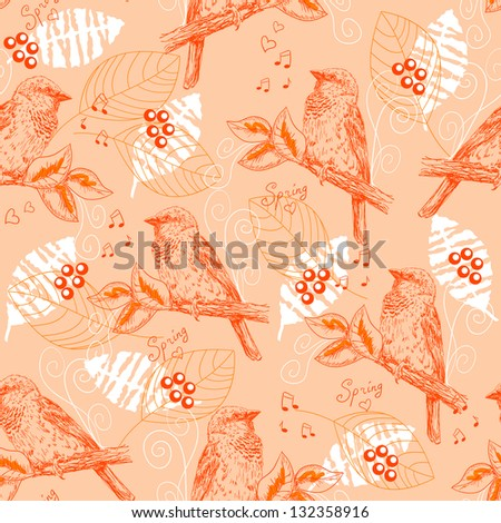 Vintage seamless pattern with sparrows. Raster version. Vector is also available in my gallery